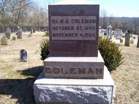 COLEMAN, W. K. - Adams County, Ohio | W. K. COLEMAN - Ohio Gravestone Photos