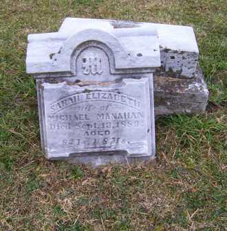 MANAHAN, SARAH ELIZABETH - Adams County, Ohio | SARAH ELIZABETH MANAHAN - Ohio Gravestone Photos