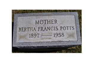 POTTS, BERTHA FRANCIS - Adams County, Ohio | BERTHA FRANCIS POTTS - Ohio Gravestone Photos
