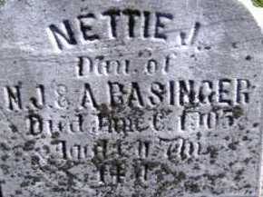 BASINGER, NETTIE J. - Allen County, Ohio | NETTIE J. BASINGER - Ohio Gravestone Photos