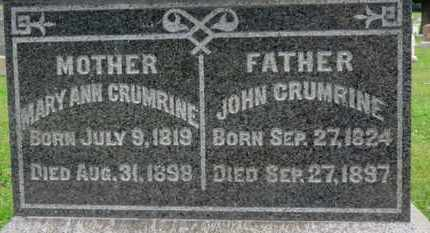 CRUMRINE, MARY ANN - Ashland County, Ohio | MARY ANN CRUMRINE - Ohio Gravestone Photos