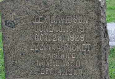 RICKET DAVIDSON, LUCINDA - Ashland County, Ohio | LUCINDA RICKET DAVIDSON - Ohio Gravestone Photos