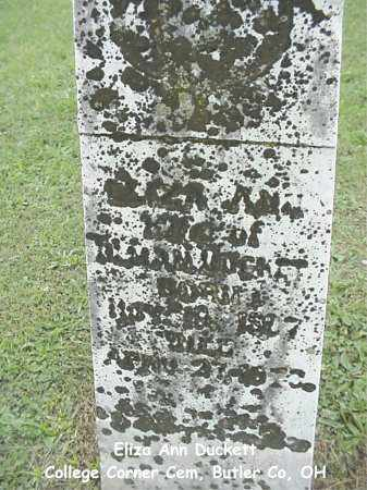 DAVIS DUCKETT, ELIZA ANN - Butler County, Ohio | ELIZA ANN DAVIS DUCKETT - Ohio Gravestone Photos