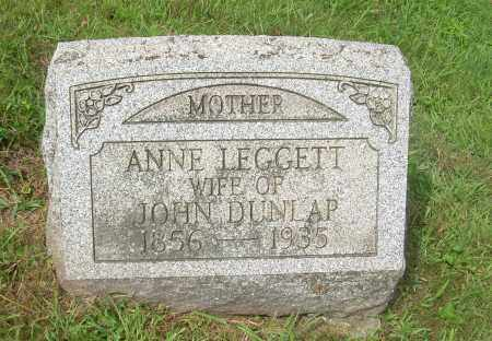 LEGGETT DUNLAP, ANNE - Carroll County, Ohio | ANNE LEGGETT DUNLAP - Ohio Gravestone Photos