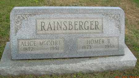 MCCORT RAINSBERGER, ALICE - Carroll County, Ohio | ALICE MCCORT RAINSBERGER - Ohio Gravestone Photos