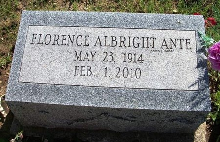 ALBRIGHT-ANTE, FLORENCE ALICE - Champaign County, Ohio | FLORENCE ALICE ALBRIGHT-ANTE - Ohio Gravestone Photos