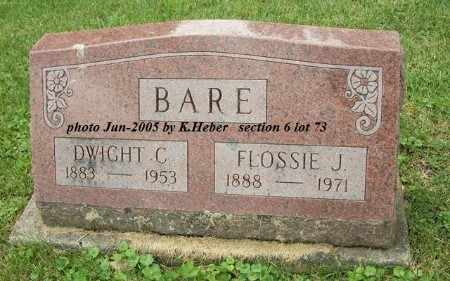 BARE, FLOSSIE JANE - Champaign County, Ohio | FLOSSIE JANE BARE - Ohio Gravestone Photos