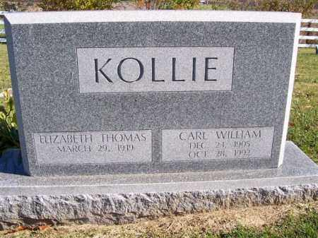 KOLLIE, ELIZABETH THOMAS - Champaign County, Ohio | ELIZABETH THOMAS KOLLIE - Ohio Gravestone Photos