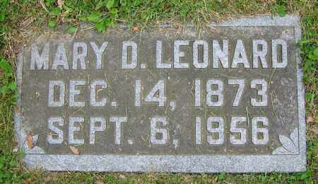 LEONARD, MARY D. - Clark County, Ohio | MARY D. LEONARD - Ohio Gravestone Photos