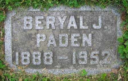 PADEN, BERYAL J. - Clark County, Ohio | BERYAL J. PADEN - Ohio Gravestone Photos