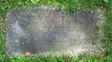 HEAUME SECREST, ALBERTA - Clark County, Ohio | ALBERTA HEAUME SECREST - Ohio Gravestone Photos