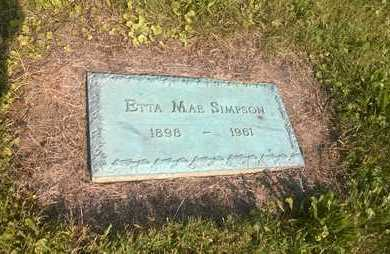 SIMPSON, ETTA MAE - Clark County, Ohio | ETTA MAE SIMPSON - Ohio Gravestone Photos