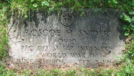 SNIDER, ROSCOE H. - Clark County, Ohio | ROSCOE H. SNIDER - Ohio Gravestone Photos