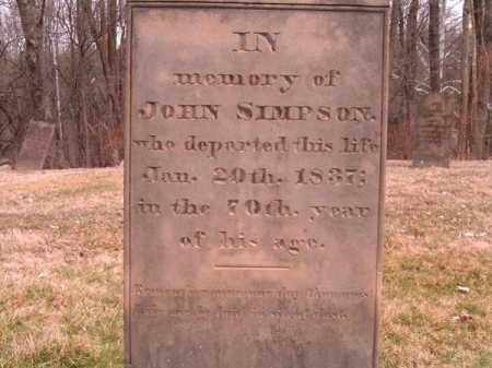 SIMPSON, JOHN - Clermont County, Ohio | JOHN SIMPSON - Ohio Gravestone Photos