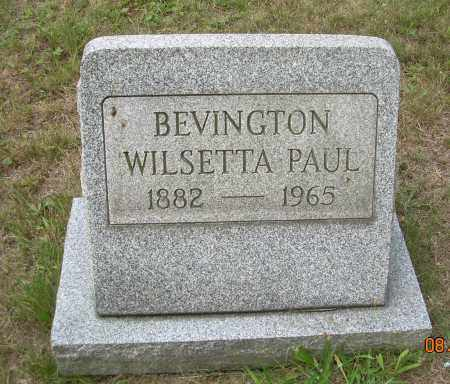 PAUL BEVINGTON, WILSETTA - Columbiana County, Ohio | WILSETTA PAUL BEVINGTON - Ohio Gravestone Photos