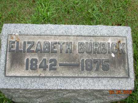 BURBICK, ELIZABETH - Columbiana County, Ohio | ELIZABETH BURBICK - Ohio Gravestone Photos