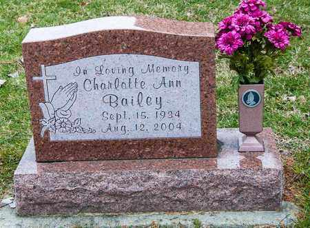 BAILEY, CHARLOTTE ANN - Crawford County, Ohio | CHARLOTTE ANN BAILEY - Ohio Gravestone Photos