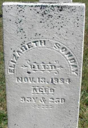 SONDAY, ELIZABETH - Darke County, Ohio | ELIZABETH SONDAY - Ohio Gravestone Photos