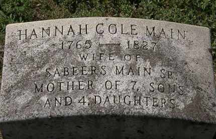 COLE MAIN, HANNAH - Delaware County, Ohio | HANNAH COLE MAIN - Ohio Gravestone Photos