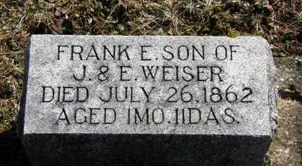 WEISER, FRANK E. - Delaware County, Ohio | FRANK E. WEISER - Ohio Gravestone Photos
