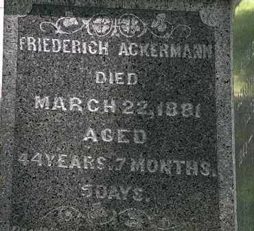 ACKERMAN, FRIEDERICH - Erie County, Ohio | FRIEDERICH ACKERMAN - Ohio Gravestone Photos