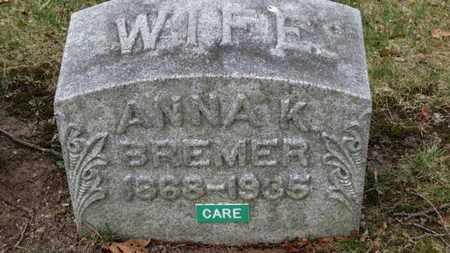 BREMER, ANNA K. - Erie County, Ohio | ANNA K. BREMER - Ohio Gravestone Photos