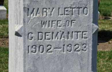 LETTO DEMANTE, MARY - Erie County, Ohio | MARY LETTO DEMANTE - Ohio Gravestone Photos