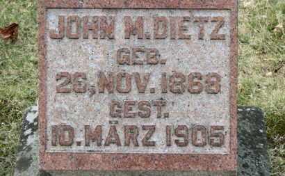 DIETZ, JOHN M. - Erie County, Ohio | JOHN M. DIETZ - Ohio Gravestone Photos