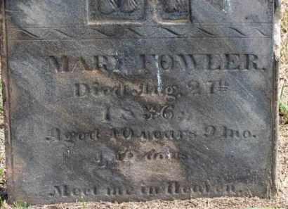 FOWLER, MARY - Erie County, Ohio   MARY FOWLER - Ohio Gravestone Photos
