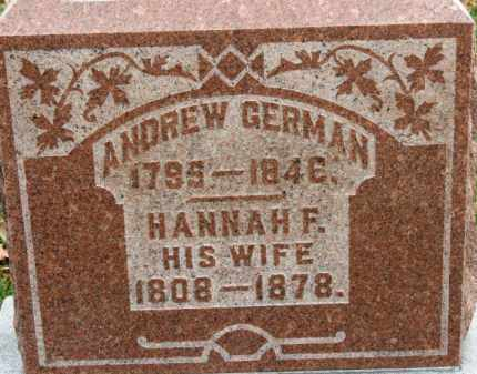 GERMAN, HANNAH F. - Erie County, Ohio | HANNAH F. GERMAN - Ohio Gravestone Photos