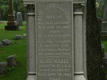 DEVIN GILCHRIST, ALICE - Erie County, Ohio | ALICE DEVIN GILCHRIST - Ohio Gravestone Photos