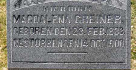 GREINER, MAGDALENA - Erie County, Ohio | MAGDALENA GREINER - Ohio Gravestone Photos