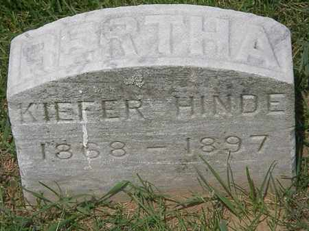KIEFER HINDE, BERTHA - Erie County, Ohio | BERTHA KIEFER HINDE - Ohio Gravestone Photos