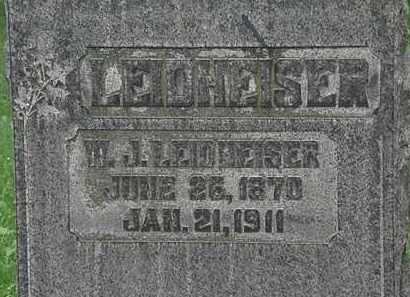 LEIDHEISER, W.J. - Erie County, Ohio | W.J. LEIDHEISER - Ohio Gravestone Photos
