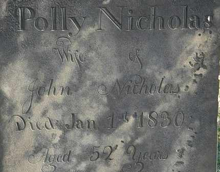 NICHOLAS, POLLY - Erie County, Ohio | POLLY NICHOLAS - Ohio Gravestone Photos