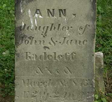 RADCLEFF, ANN - Erie County, Ohio | ANN RADCLEFF - Ohio Gravestone Photos
