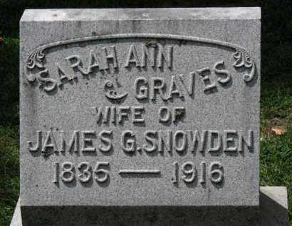 GRAVES SNOWDEN, SARAH ANN - Erie County, Ohio | SARAH ANN GRAVES SNOWDEN - Ohio Gravestone Photos