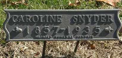 SNYDER, CAROLINE - Erie County, Ohio | CAROLINE SNYDER - Ohio Gravestone Photos