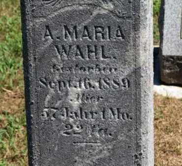 WAHL, A. MARIA - Erie County, Ohio | A. MARIA WAHL - Ohio Gravestone Photos
