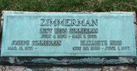 HESS ZIMMERMAN, LUCY - Erie County, Ohio | LUCY HESS ZIMMERMAN - Ohio Gravestone Photos