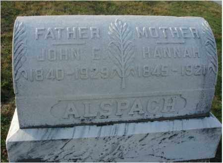 ALSPACH, HANNAH - Fairfield County, Ohio | HANNAH ALSPACH - Ohio Gravestone Photos