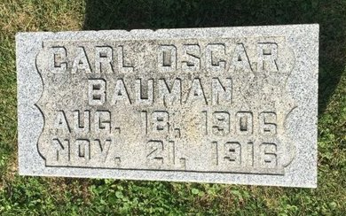 BAUMAN, CARL OSCAR - Fairfield County, Ohio | CARL OSCAR BAUMAN - Ohio Gravestone Photos
