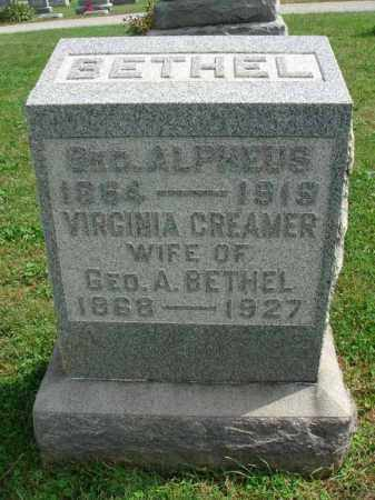 BETHEL, VIRGINIA - Fairfield County, Ohio | VIRGINIA BETHEL - Ohio Gravestone Photos