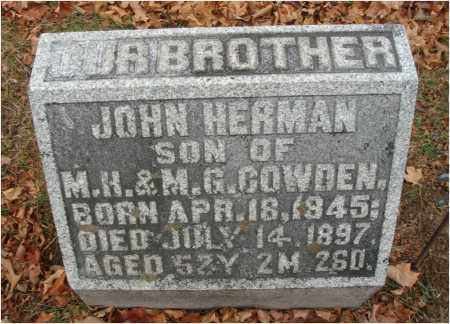 COWDEN, JOHN HERMAN - Fairfield County, Ohio | JOHN HERMAN COWDEN - Ohio Gravestone Photos