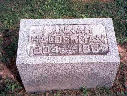 HALDERMAN, HANNAH - Fairfield County, Ohio | HANNAH HALDERMAN - Ohio Gravestone Photos