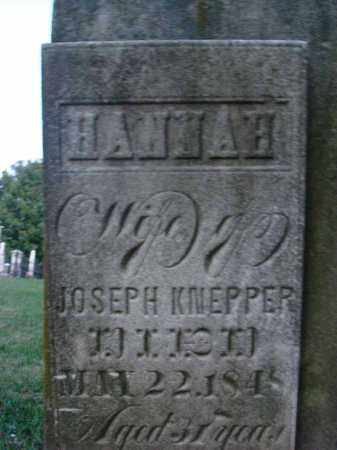 KNEPPER, HANNAH - Fairfield County, Ohio | HANNAH KNEPPER - Ohio Gravestone Photos