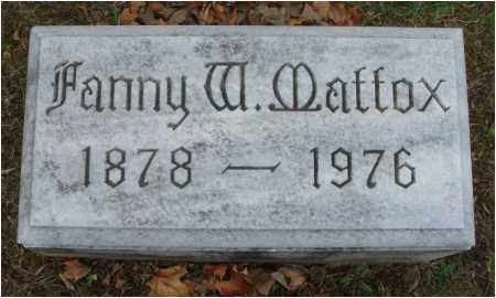 MATTOX, FANNY W. - Fairfield County, Ohio | FANNY W. MATTOX - Ohio Gravestone Photos