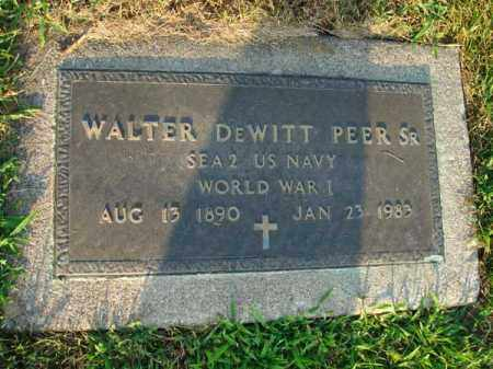PEER, WALTER DEWITT SR. - Fairfield County, Ohio | WALTER DEWITT SR. PEER - Ohio Gravestone Photos