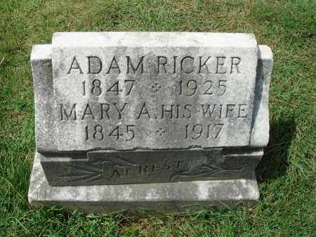 RICKER, ADAM - Fairfield County, Ohio | ADAM RICKER - Ohio Gravestone Photos