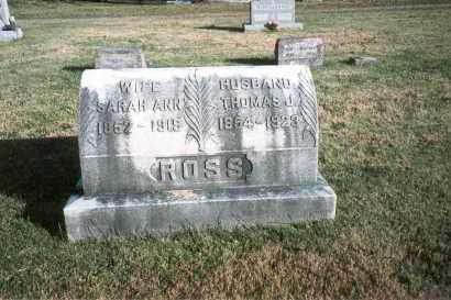 PAUL ROSS, SARAH ANN - Fairfield County, Ohio | SARAH ANN PAUL ROSS - Ohio Gravestone Photos